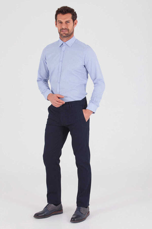 Blue Dobby Dress Shirt - Thumbnail