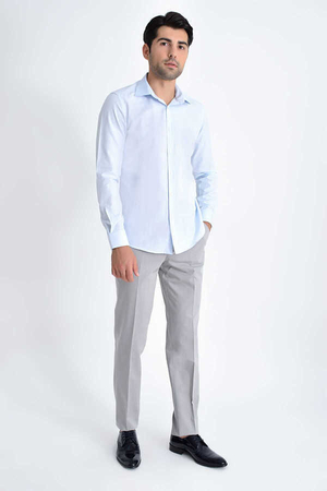 Hatemoğlu - Blue Dobby Slim Fit Casual Shirt