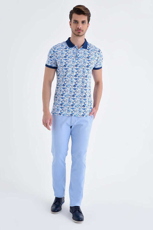 Blue Floral Printed Polo Shirt - Thumbnail