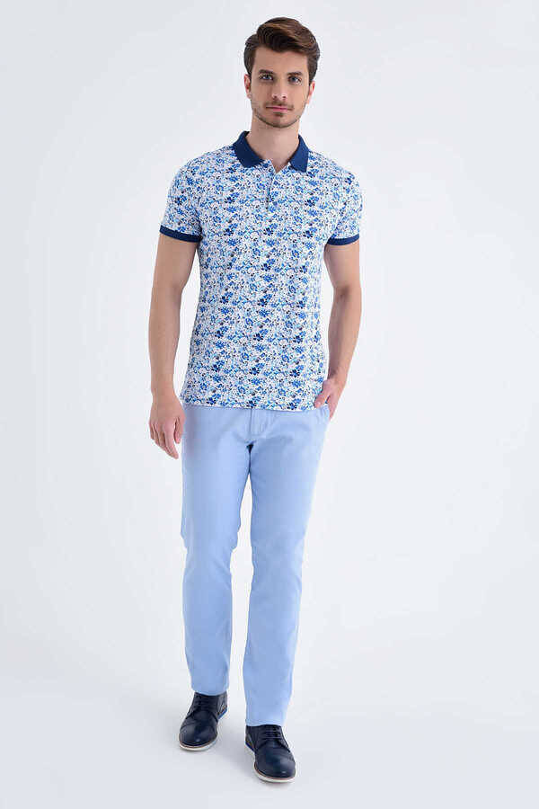 Blue Floral Printed Polo Shirt