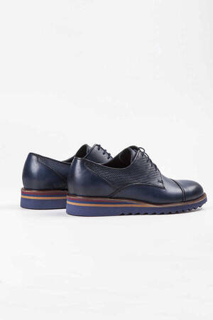 Blue Leather Casual Shoes