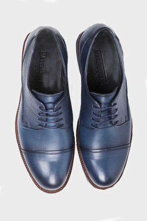 Blue Leather Casual Shoes - Thumbnail