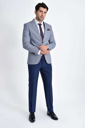 Hatemoğlu - Blue Plaid Slim Fit 3-Piece Suit