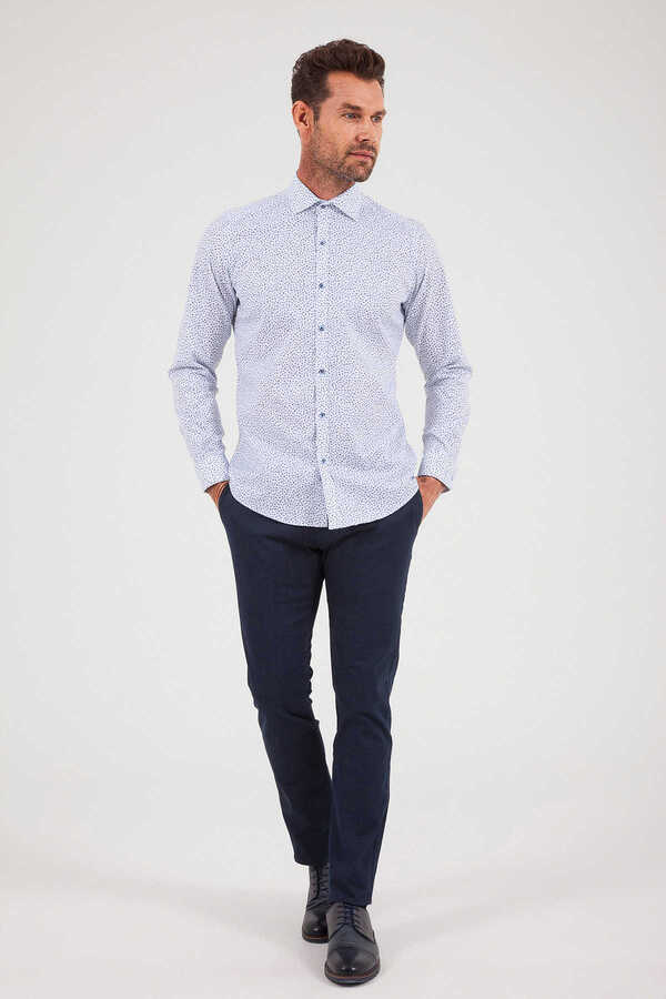 Hatemoğlu - Blue Printed Casual Shirt