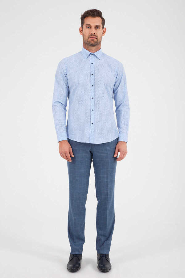 Hatemoğlu - Blue Printed Dress Shirt