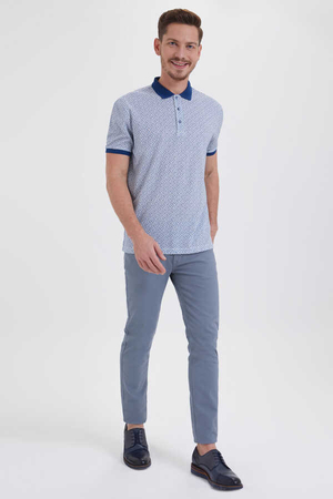 Hatemoğlu - Blue Printed Polo Shirt