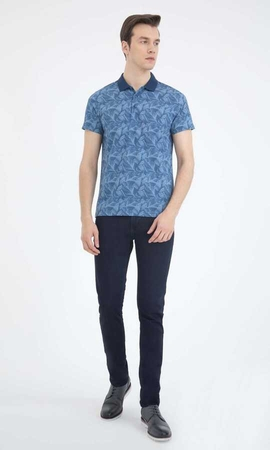 Hatem Saykı - Blue Printed Polo Shirt