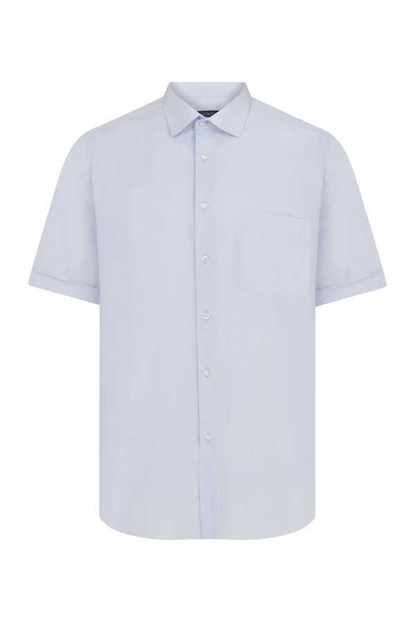 Hatemoğlu - Blue Printed Short Sleeve Dress Shirt