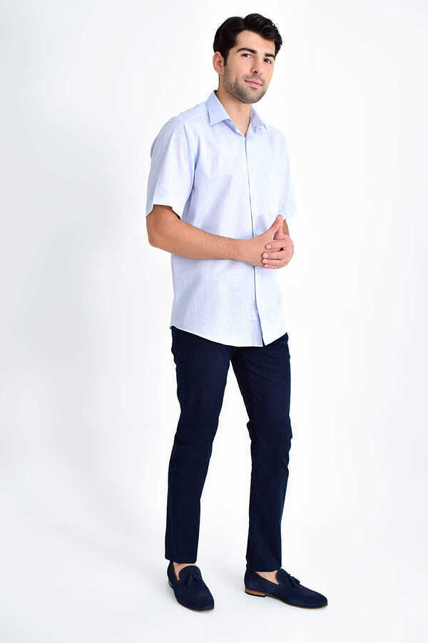 Hatemoğlu - Blue Printed Short Sleeve Shirt