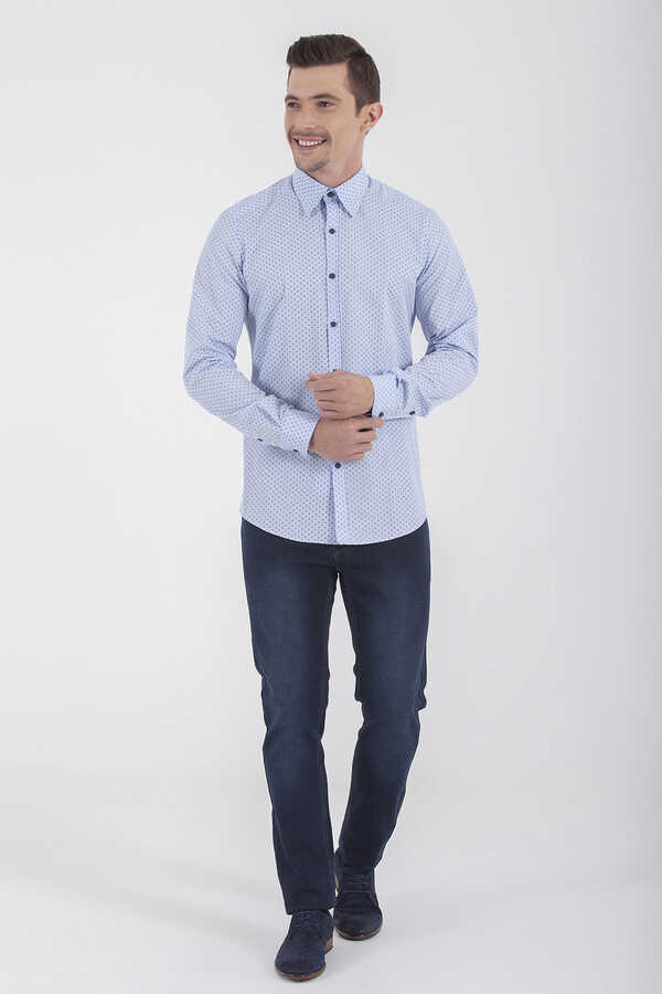 Hatem Saykı - Blue Printed Slim Fit Casual Shirt