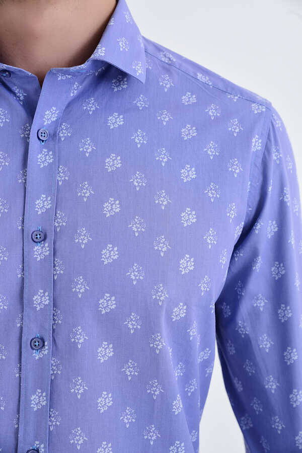 Blue Printed Slim Fit Casual Shirt