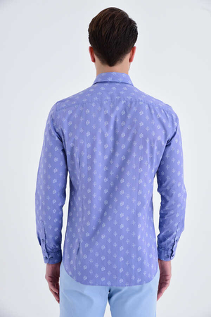Blue Printed Slim Fit Casual Shirt - Thumbnail