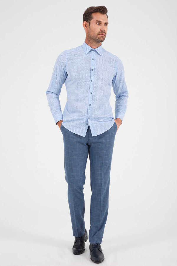 Hatemoğlu - Blue Printed Slim Fit Dress Shirt