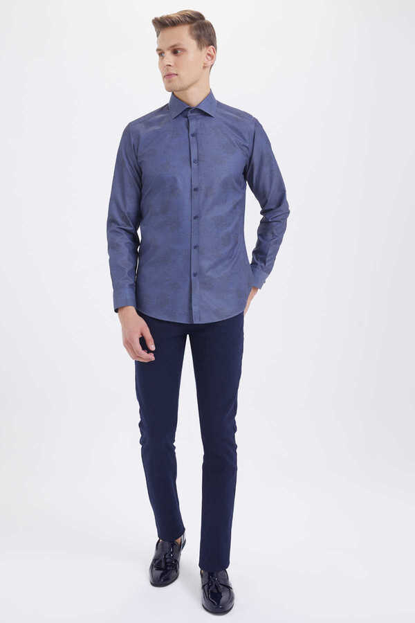HTML - Blue Printed Slim Fit Shirt