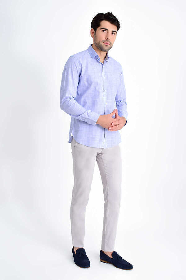 Hatem Saykı - Blue Printed Slim Fit Shirt