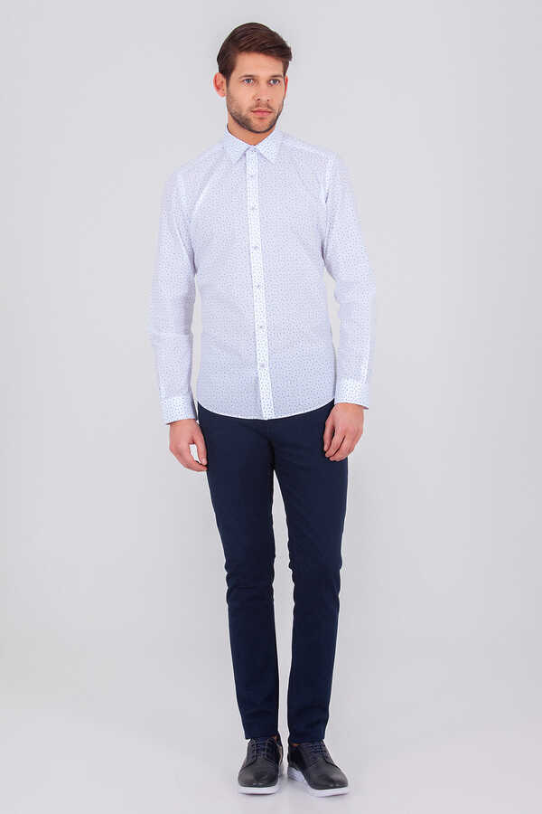 Hatemoğlu - Blue Printed Slim Fit Shirt