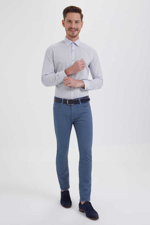 HTML - Blue Slim Fit Casual Pants