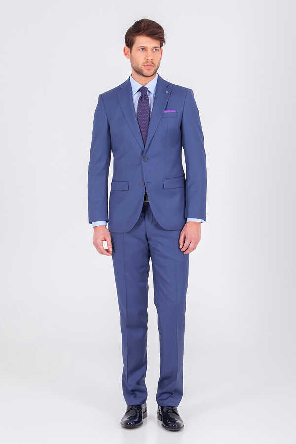 Hatem Saykı - Blue Slim Fit Suit
