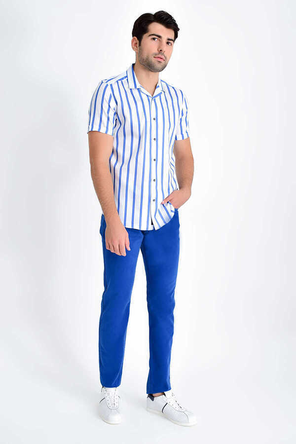 Hatem Saykı - Blue Striped Short Sleeve Shirt
