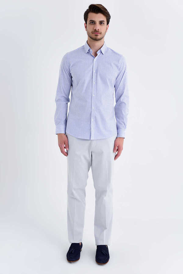 Hatem Saykı - Blue Striped Slim Fit Shirt