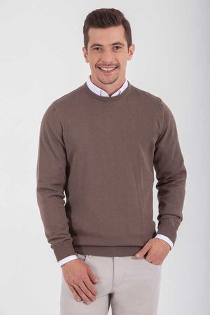 Brown Cotton Crew Neck Sweater - Thumbnail