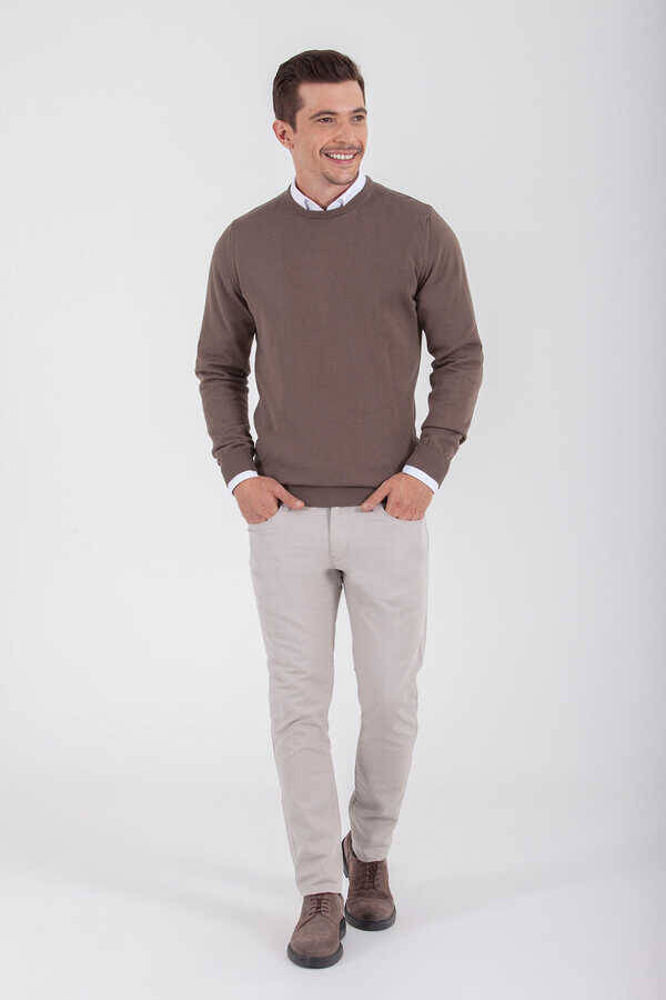 Brown Cotton Crew Neck Sweater
