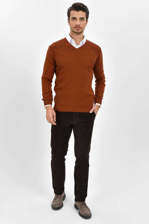 Hatemoğlu - Brown Cotton V-neck Sweater