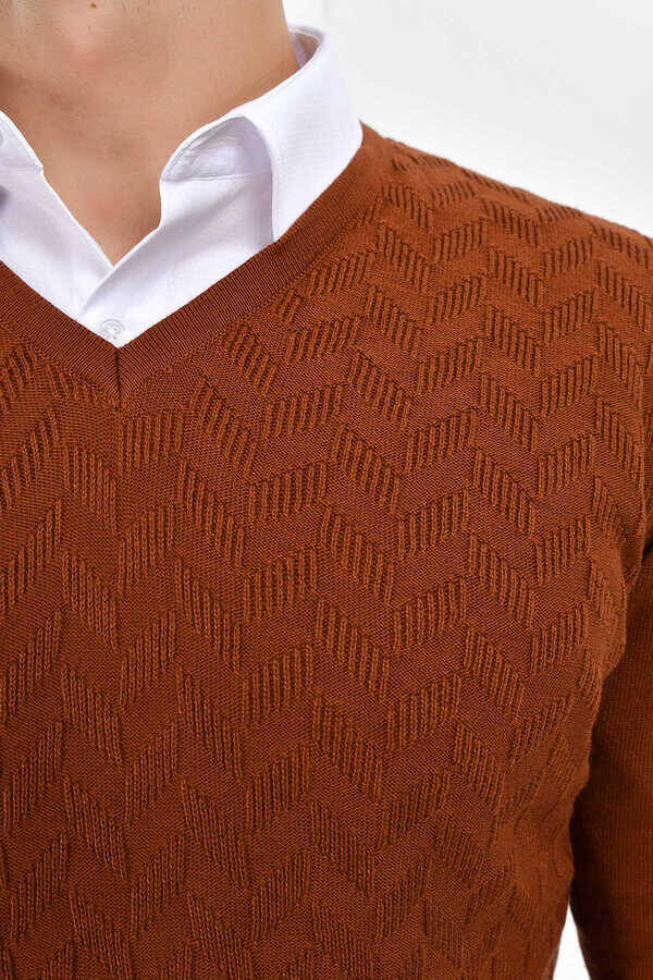 Brown Cotton V-neck Sweater
