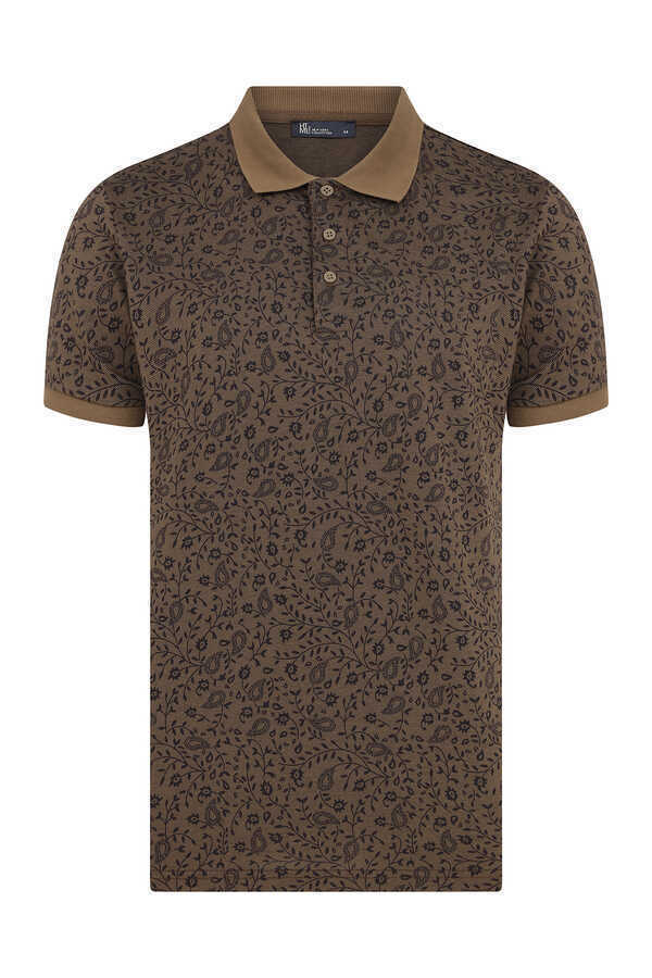 HTML - Brown Printed Polo T-Shirt