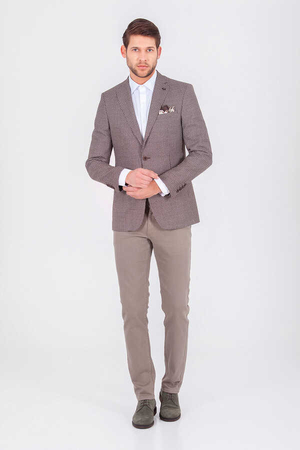 Brown Printed Slim Fit Blazer - Thumbnail