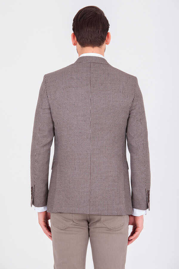 Brown Printed Slim Fit Blazer