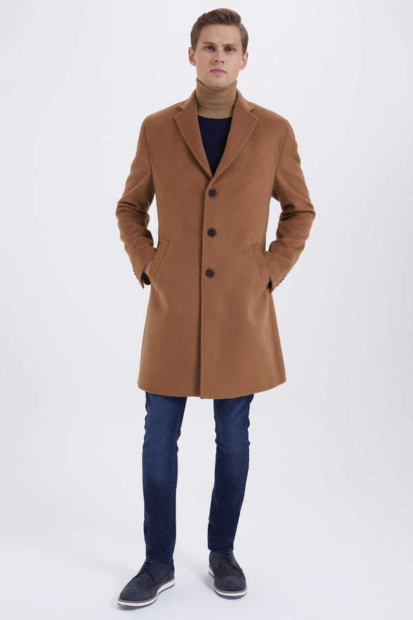 Hatem Saykı - Camel Wool Notch Lapel Coat