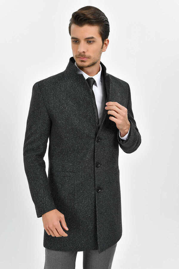 Coal Herringbone Overcoat