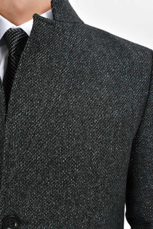 Coal Herringbone Overcoat - Thumbnail