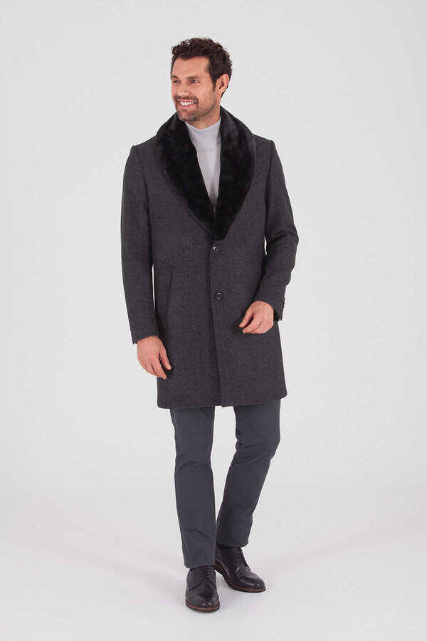 Coal Wool Fur Collar Overcoat