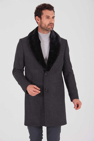 Coal Wool Fur Collar Overcoat - Thumbnail