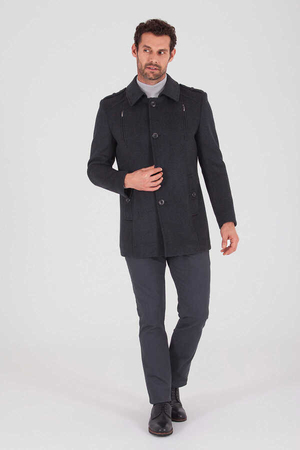 Coal Woolen Coat - Thumbnail
