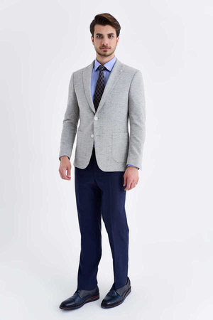 Hatem Saykı - Gray Crosshatch Slim Fit Blazer