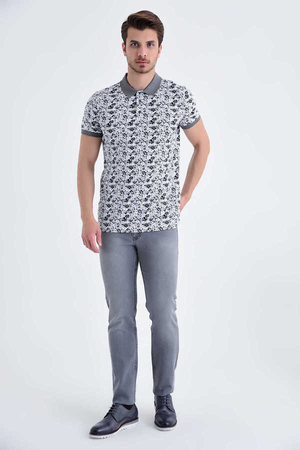 HTML - Gray Floral Printed Polo T-Shirt