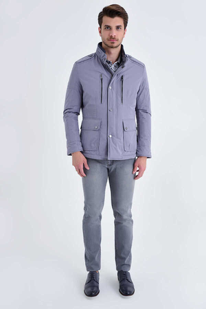 Hatemoğlu - Gray Grandad Collar Casual Jacket
