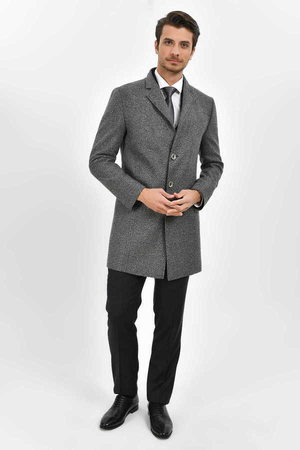 HTML - Gray Herringbone Overcoat