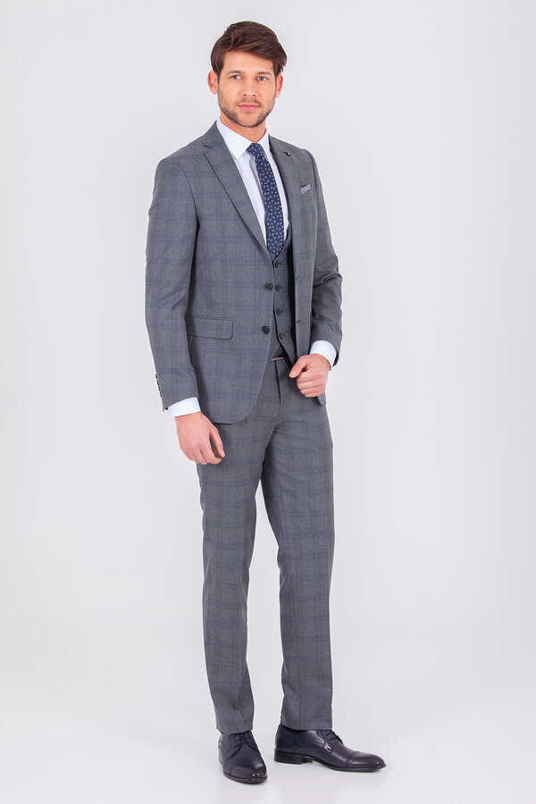 Hatemoğlu - Gray Plaid Slim Fit 3-Piece Suit