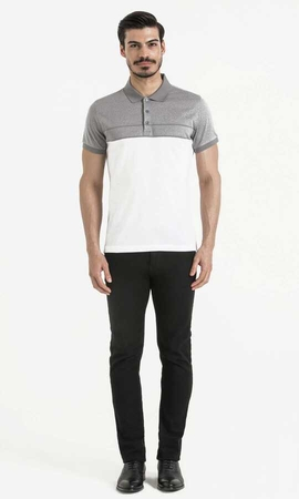 Hatem Saykı - Gray Printed Polo Shirt
