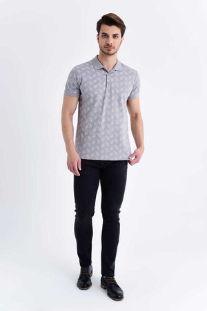 HTML - Gray Printed Polo Shirt