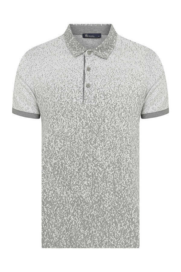 HTML - Gray Printed Polo T-Shirt