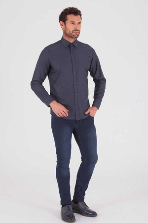 Hatemoğlu - Gray Printed Slim Fit Shirt