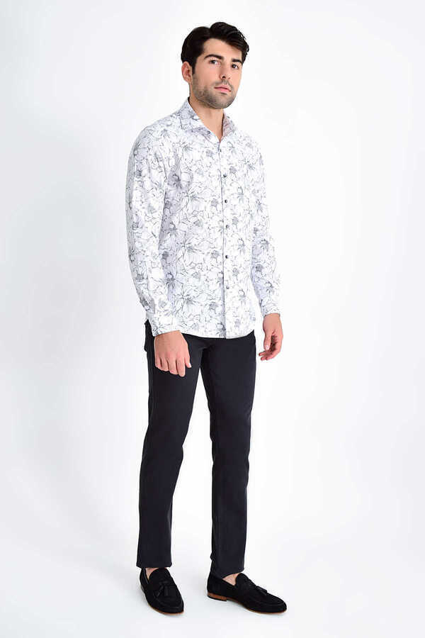 HTML - Gray Printed Slim Fit Shirt