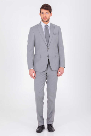 Gray Slim Fit Suit - Thumbnail