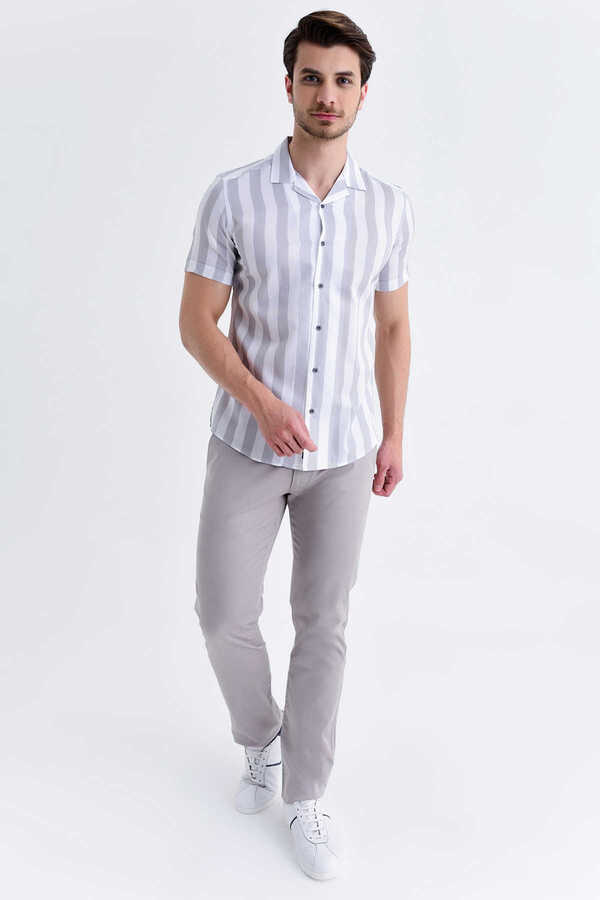 Hatem Saykı - Gray Striped Short Sleeve Shirt