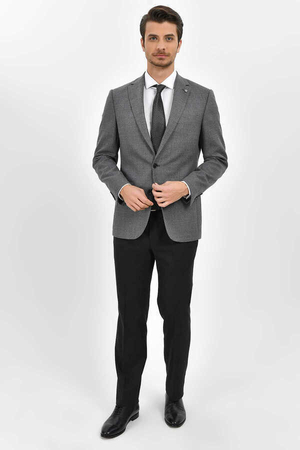 Hatem Saykı - Gray Wool Crosshatch Slim Fit Blazer